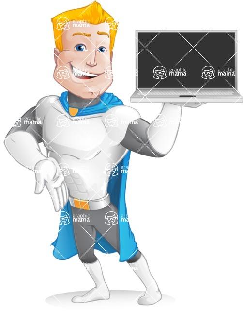 Muscle Superhero Cartoon Vector Character AKA Mister Tornado - Tablet