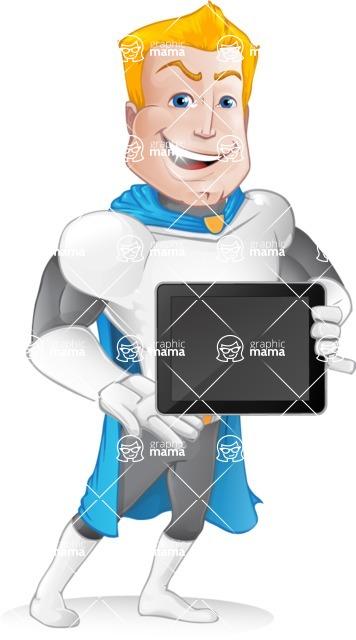 Muscle Superhero Cartoon Vector Character AKA Mister Tornado - Tablet 2