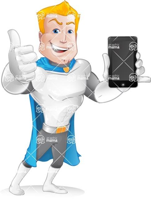 Muscle Superhero Cartoon Vector Character AKA Mister Tornado - Mobile Phone