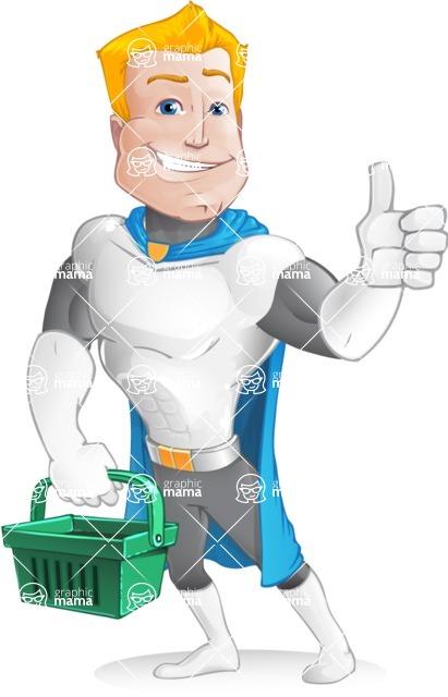 Muscle Superhero Cartoon Vector Character AKA Mister Tornado - Sign