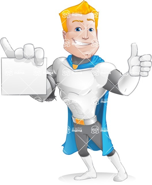 Muscle Superhero Cartoon Vector Character AKA Mister Tornado - Sign 2