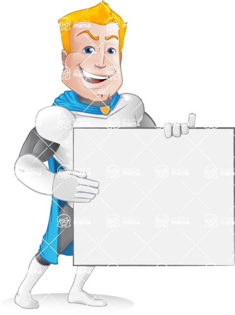 Muscle Superhero Cartoon Vector Character AKA Mister Tornado - Sign 4