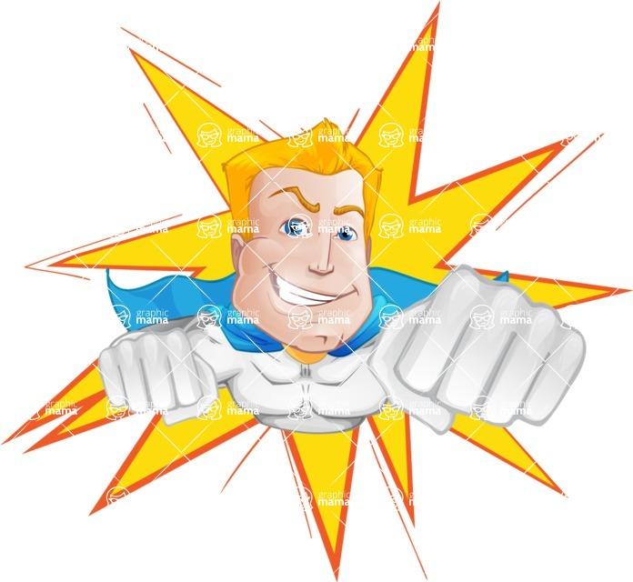 Muscle Superhero Cartoon Vector Character AKA Mister Tornado - Shape 1