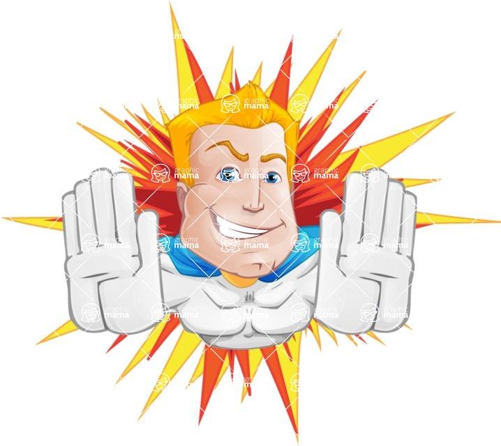 Muscle Superhero Cartoon Vector Character AKA Mister Tornado - Shape 3