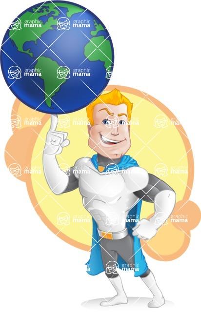Muscle Superhero Cartoon Vector Character AKA Mister Tornado - Shape 4