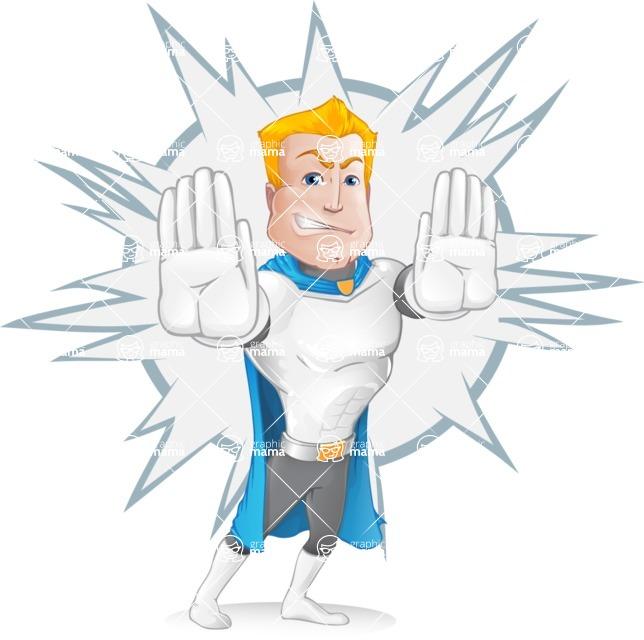 Muscle Superhero Cartoon Vector Character AKA Mister Tornado - Shape 6