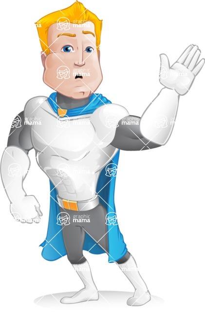 Muscle Superhero Cartoon Vector Character AKA Mister Tornado - Hello