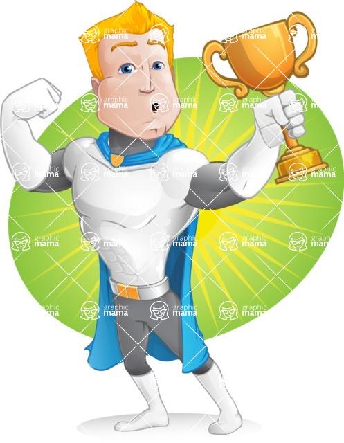 Muscle Superhero Cartoon Vector Character AKA Mister Tornado - Shape 7