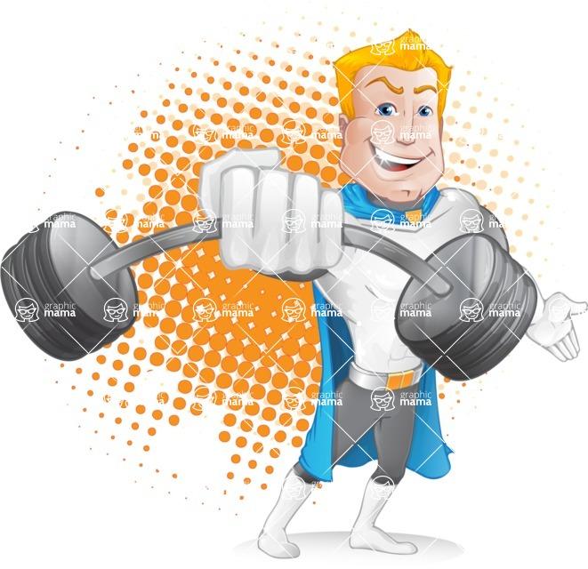 Muscle Superhero Cartoon Vector Character AKA Mister Tornado - Shape 8