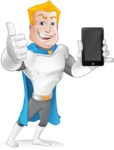 Muscle Superhero Cartoon Vector Character AKA Mister Tornado - Mobile Phone