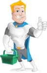 Muscle Superhero Cartoon Vector Character AKA Mister Tornado - Sign