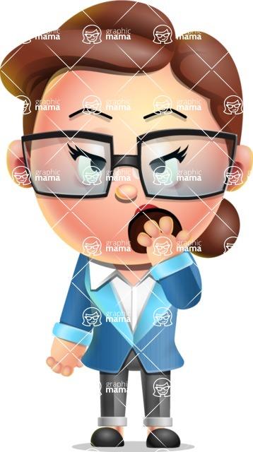 Vector 3D Business Woman Character Design AKA Sharon Blazer - Bored