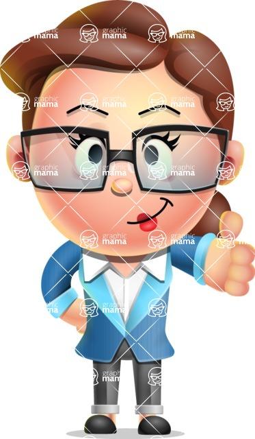 Vector 3D Business Woman Character Design AKA Sharon Blazer - Thumbs Up