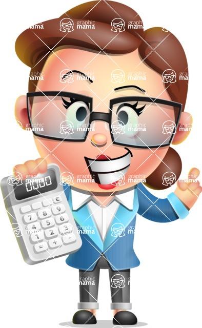 Vector 3D Business Woman Character Design AKA Sharon Blazer - Calculator