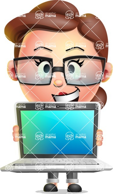 Vector 3D Business Woman Character Design AKA Sharon Blazer - Laptop 2
