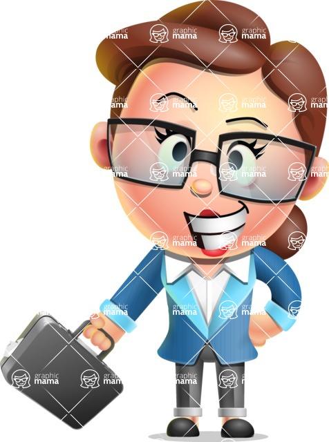 Vector 3D Business Woman Character Design AKA Sharon Blazer - Briefcase 1