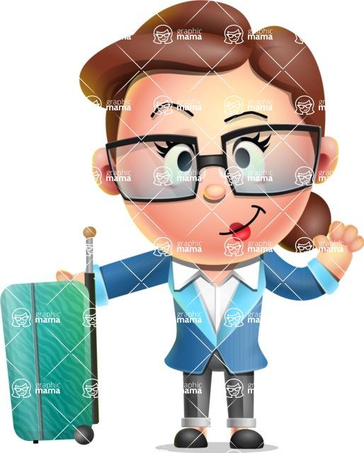 Vector 3D Business Woman Character Design AKA Sharon Blazer - Travel 1