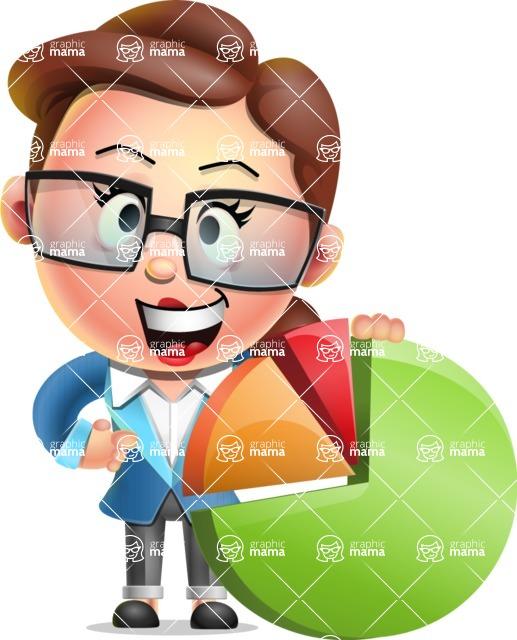 Vector 3D Business Woman Character Design AKA Sharon Blazer - Chart