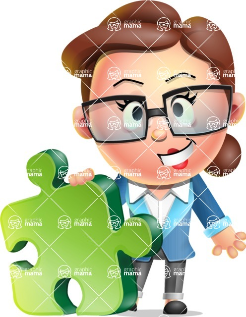 Vector 3D Business Woman Character Design AKA Sharon Blazer - Puzzle