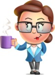Vector 3D Business Woman Character Design AKA Sharon Blazer - Coffee