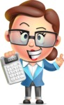 Vector 3D Business Woman Character Design AKA Sharon Blazer - Calculator