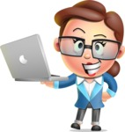 Vector 3D Business Woman Character Design AKA Sharon Blazer - Laptop 1
