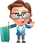 Vector 3D Business Woman Character Design AKA Sharon Blazer - Travel 1