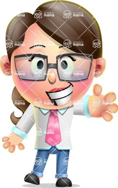 Cute Vector 3D Girl Character Design AKA Samantha PinkTie - Wave