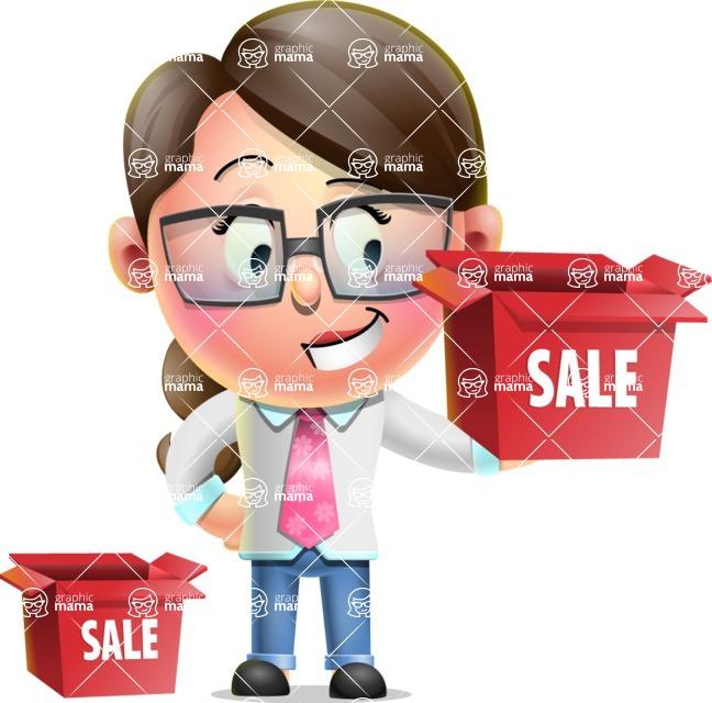 Cute Vector 3D Girl Character Design AKA Samantha PinkTie - Sale