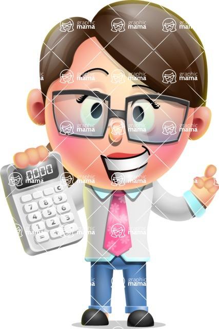 Cute Vector 3D Girl Character Design AKA Samantha PinkTie - Calculator