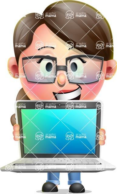 Cute Vector 3D Girl Character Design AKA Samantha PinkTie - Laptop 2
