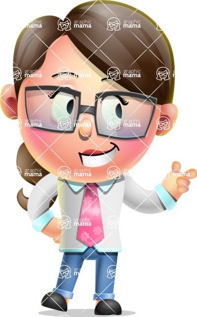 Cute Vector 3D Girl Character Design AKA Samantha PinkTie - Point