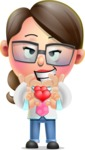 Cute Vector 3D Girl Character Design AKA Samantha PinkTie - Cute Cartoon Girl With Heart Graphic