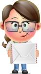 Cute Vector 3D Girl Character Design AKA Samantha PinkTie - Letter
