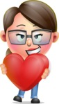 Cute Vector 3D Girl Character Design AKA Samantha PinkTie - Inloved Cute Cartoon Girl Character Graphic