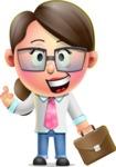 Cute Vector 3D Girl Character Design AKA Samantha PinkTie - Briefcase 2