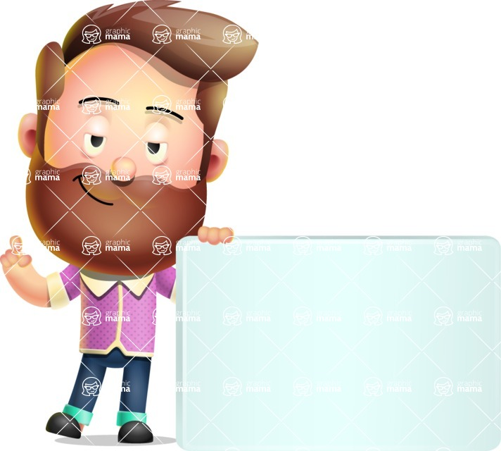 Vector 3D Cartoon Character АКА Ryan McConcept - Holding a Blank Sign and Pointing