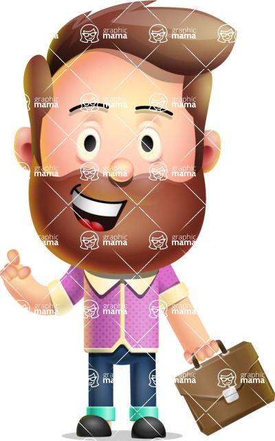 Vector 3D Cartoon Character АКА Ryan McConcept - Holding a Briefcase with Smiling Face