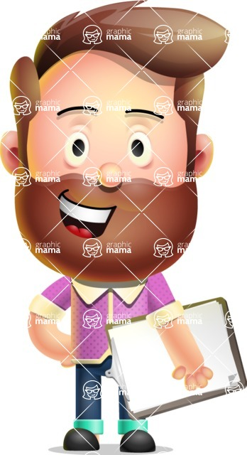 Vector 3D Cartoon Character АКА Ryan McConcept - Holding a Notepad with One Hand