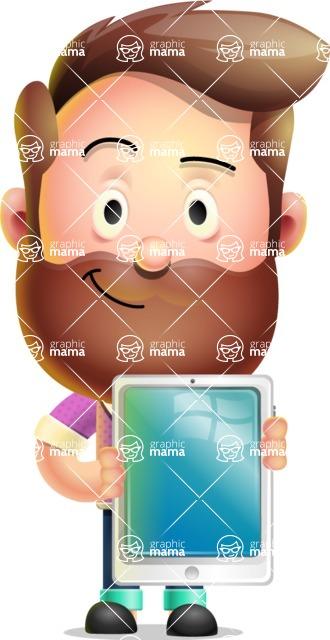 Vector 3D Cartoon Character АКА Ryan McConcept - Holding Tablet
