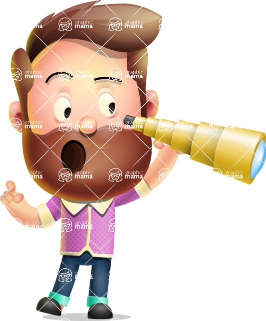 Vector 3D Cartoon Character АКА Ryan McConcept - Looking Through a Telescope