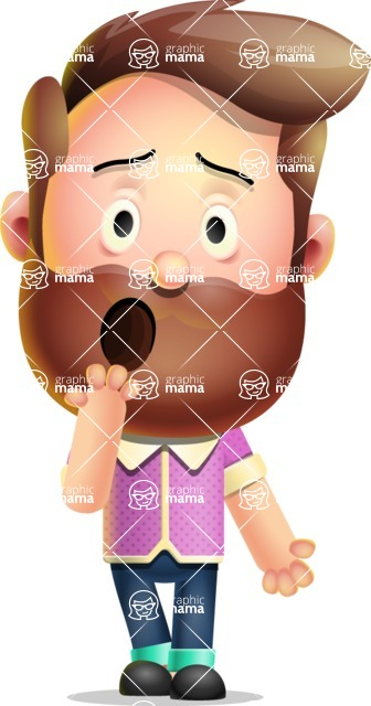 Vector 3D Cartoon Character АКА Ryan McConcept - Making Oops Gesture with Hands