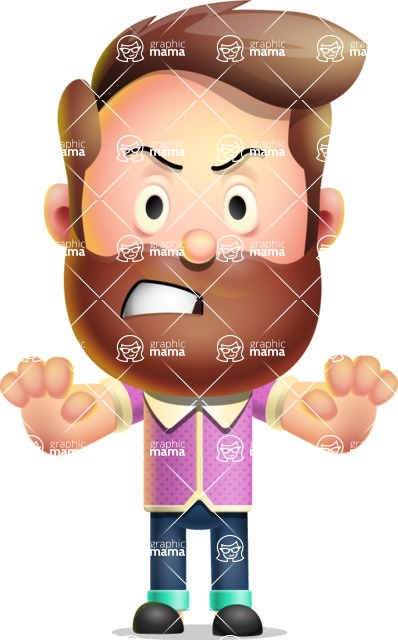 Vector 3D Cartoon Character АКА Ryan McConcept - Making Stop with Two Hands
