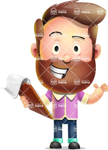 Vector 3D Cartoon Character АКА Ryan McConcept - Making Thumbs-Up with Notepad