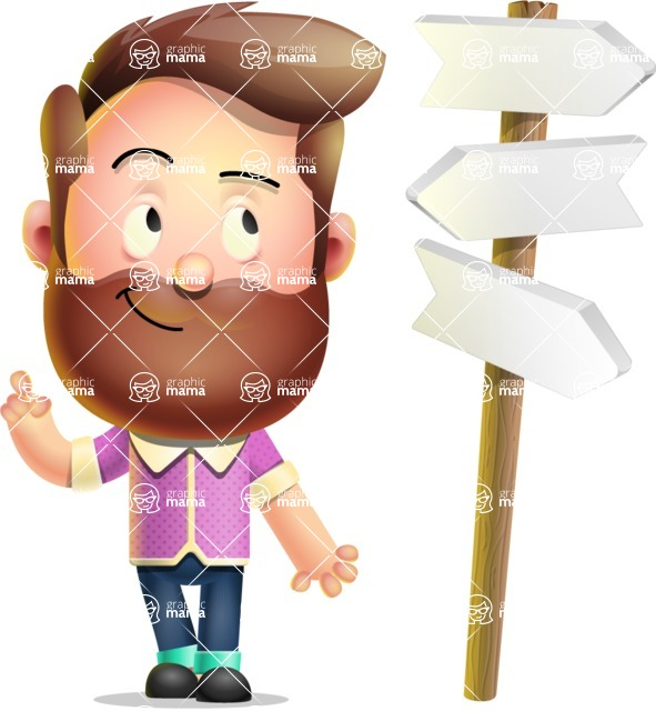 Vector 3D Cartoon Character АКА Ryan McConcept - On a Crossroad with Road Signs Pointing in All Directions