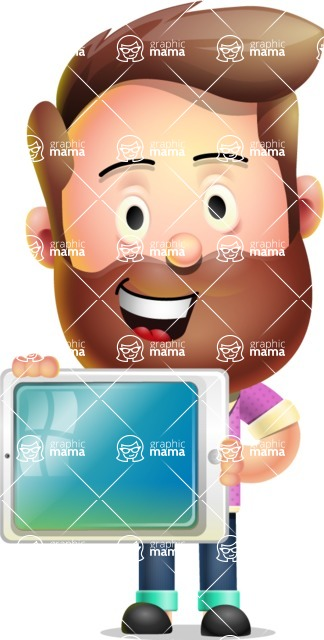 Vector 3D Cartoon Character АКА Ryan McConcept - Showing Tablet