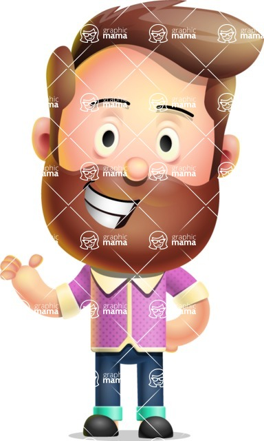 Vector 3D Cartoon Character АКА Ryan McConcept - Showing with Smiley Face
