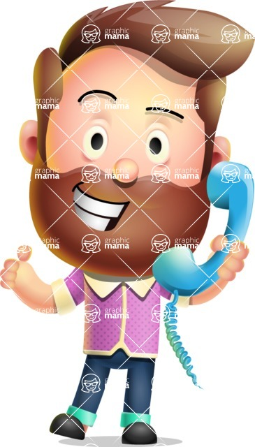 Vector 3D Cartoon Character АКА Ryan McConcept - Talking on Phone