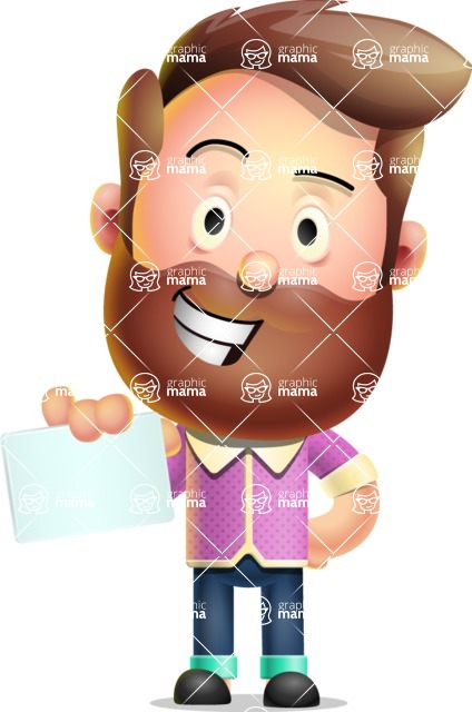 Vector 3D Cartoon Character АКА Ryan McConcept - With a Blank Business Card