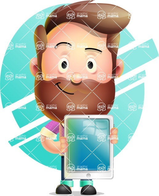 Vector 3D Cartoon Character АКА Ryan McConcept - With a Circle Shape Background